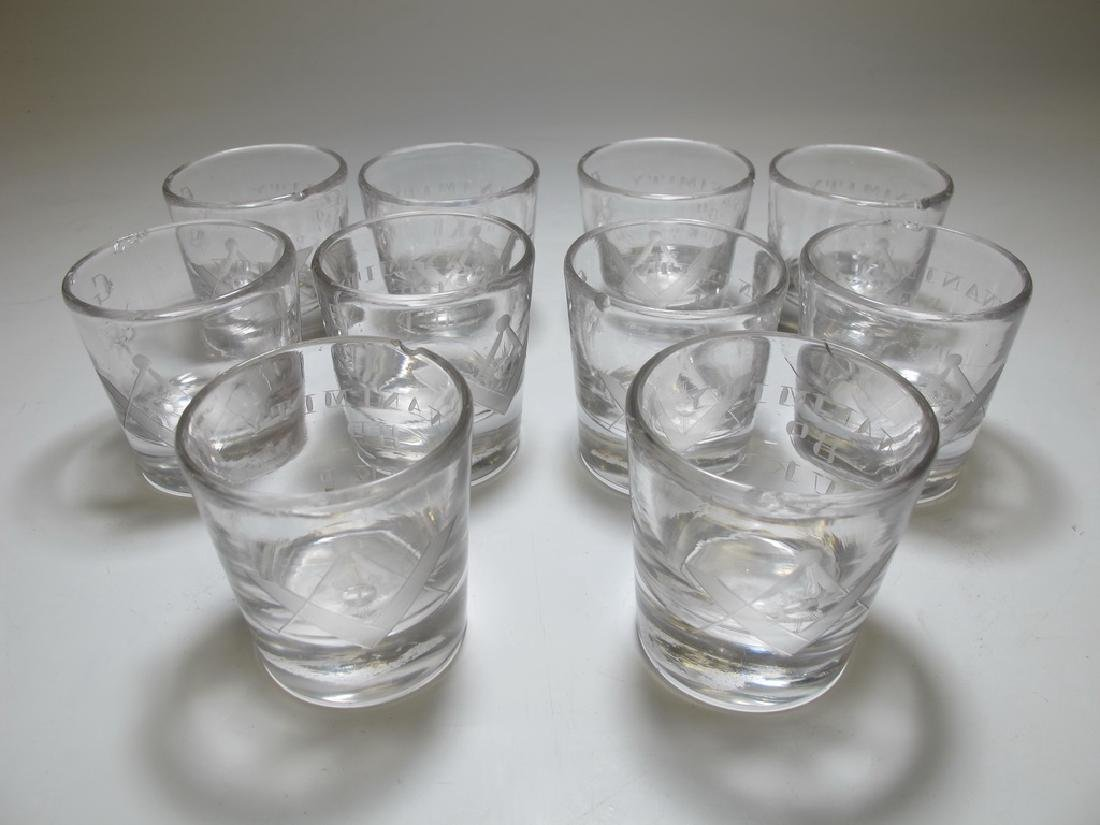 Lot of 10 Masonic firing glass etched shots