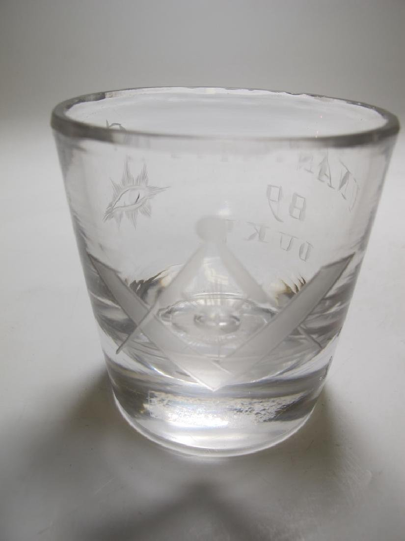 Lot of 10 Masonic firing glass etched shots - 2
