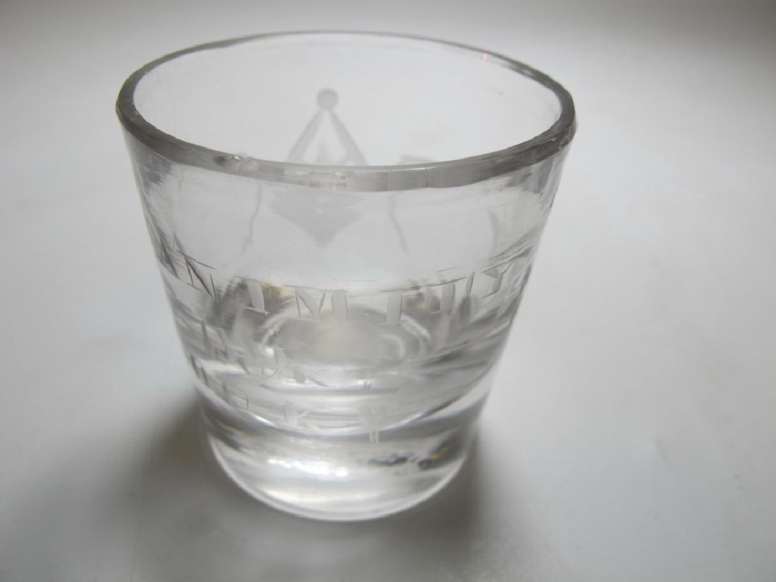 Lot of 10 Masonic firing glass etched shots - 3