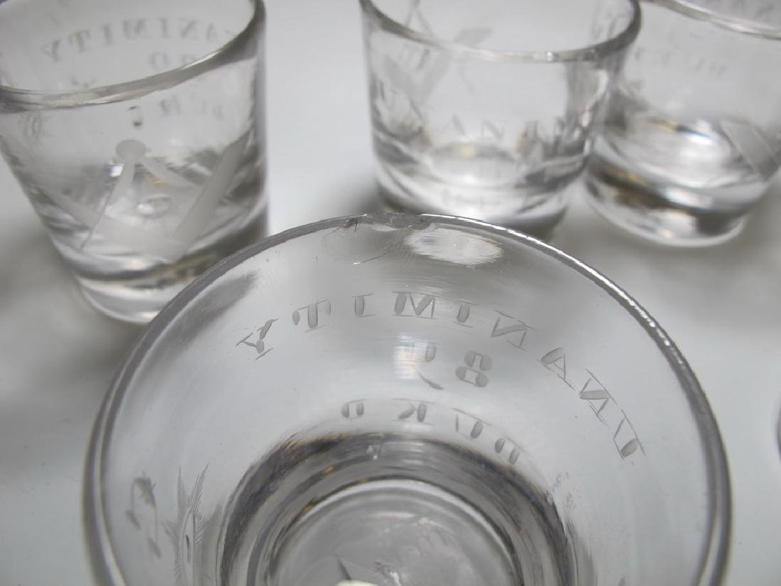 Lot of 10 Masonic firing glass etched shots - 8