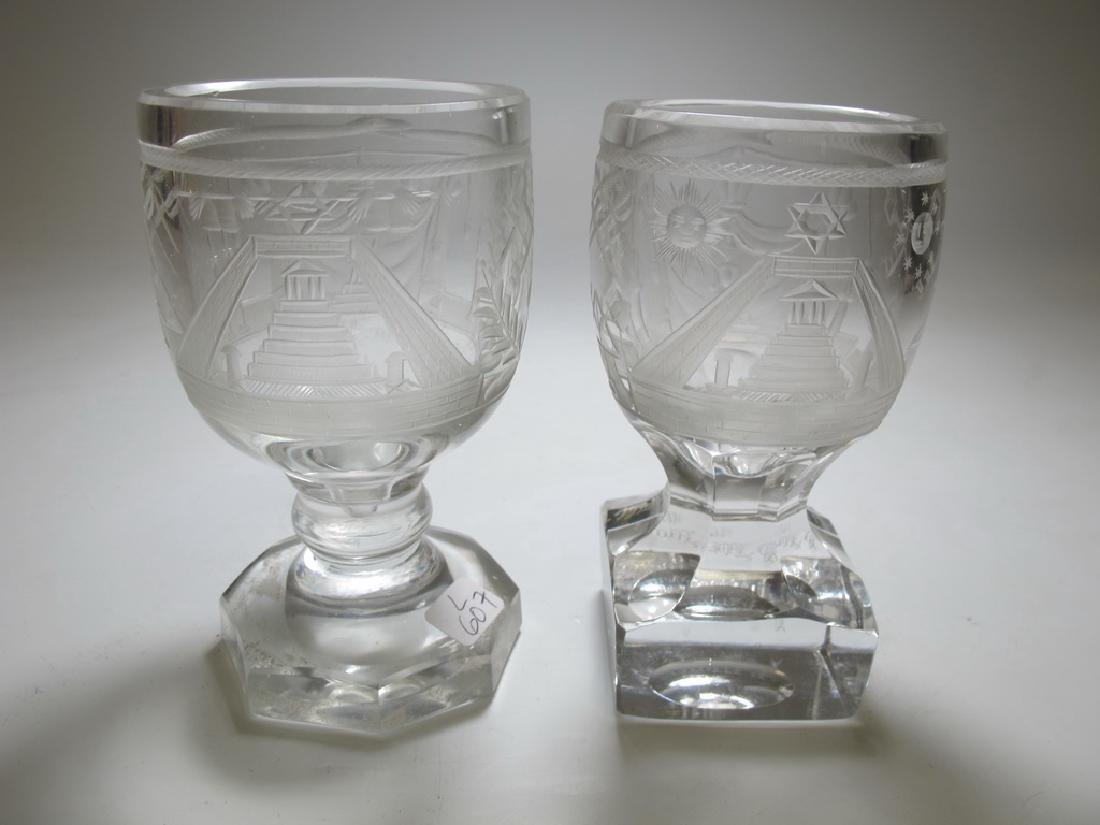Lot of two Masonic firing glass engraved goblets