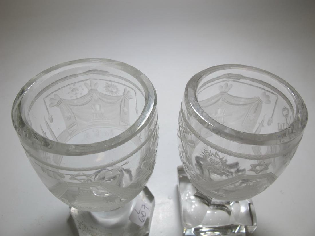 Lot of two Masonic firing glass engraved goblets - 2