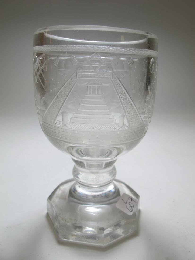 Lot of two Masonic firing glass engraved goblets - 3