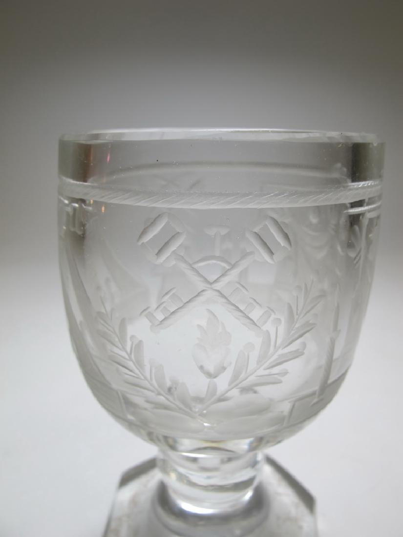 Lot of two Masonic firing glass engraved goblets - 4