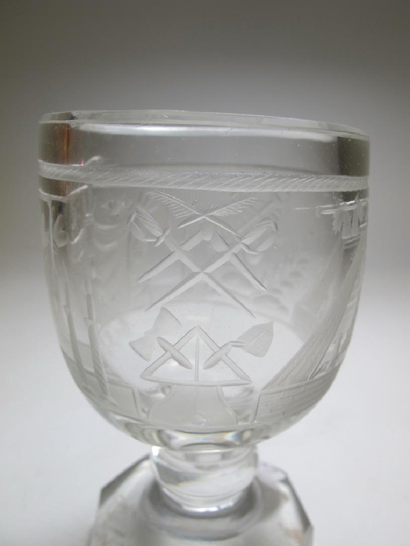 Lot of two Masonic firing glass engraved goblets - 6