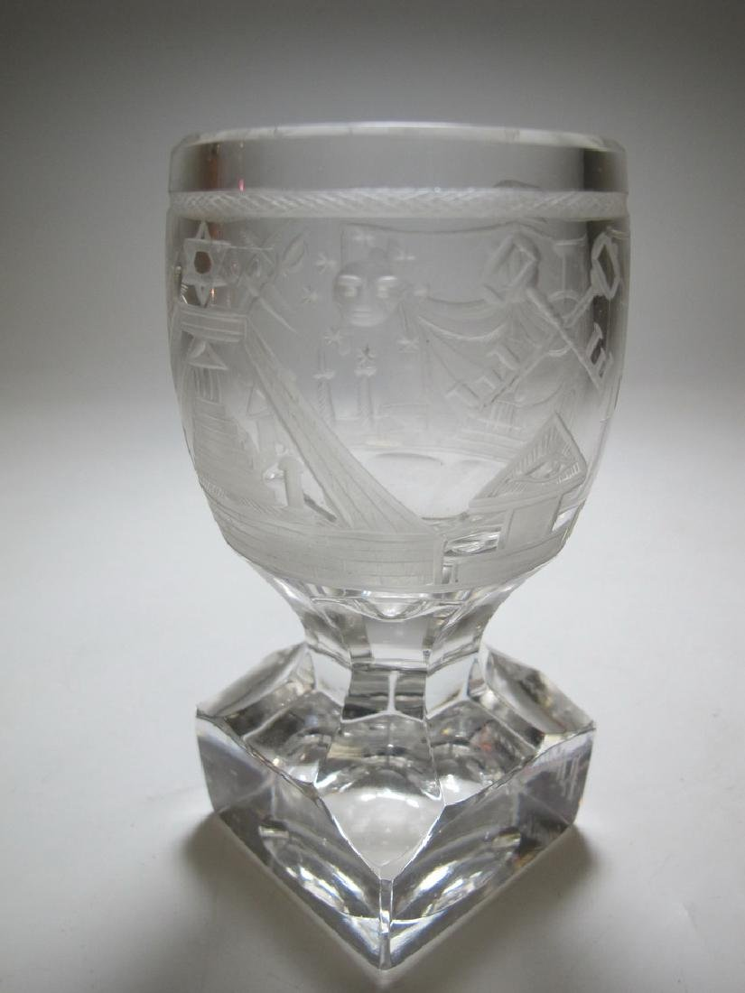Lot of two Masonic firing glass engraved goblets - 7