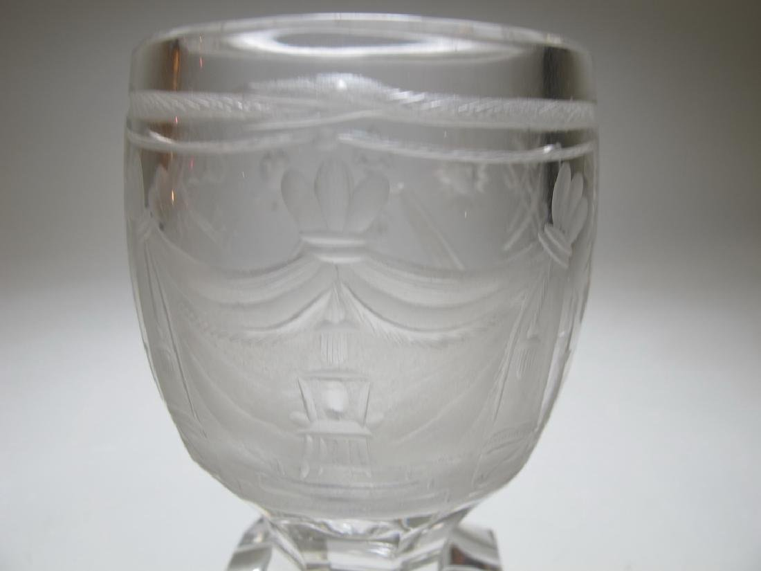 Lot of two Masonic firing glass engraved goblets - 8