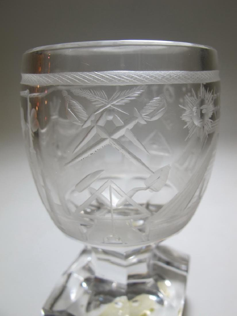 Lot of two Masonic firing glass goblets - 4