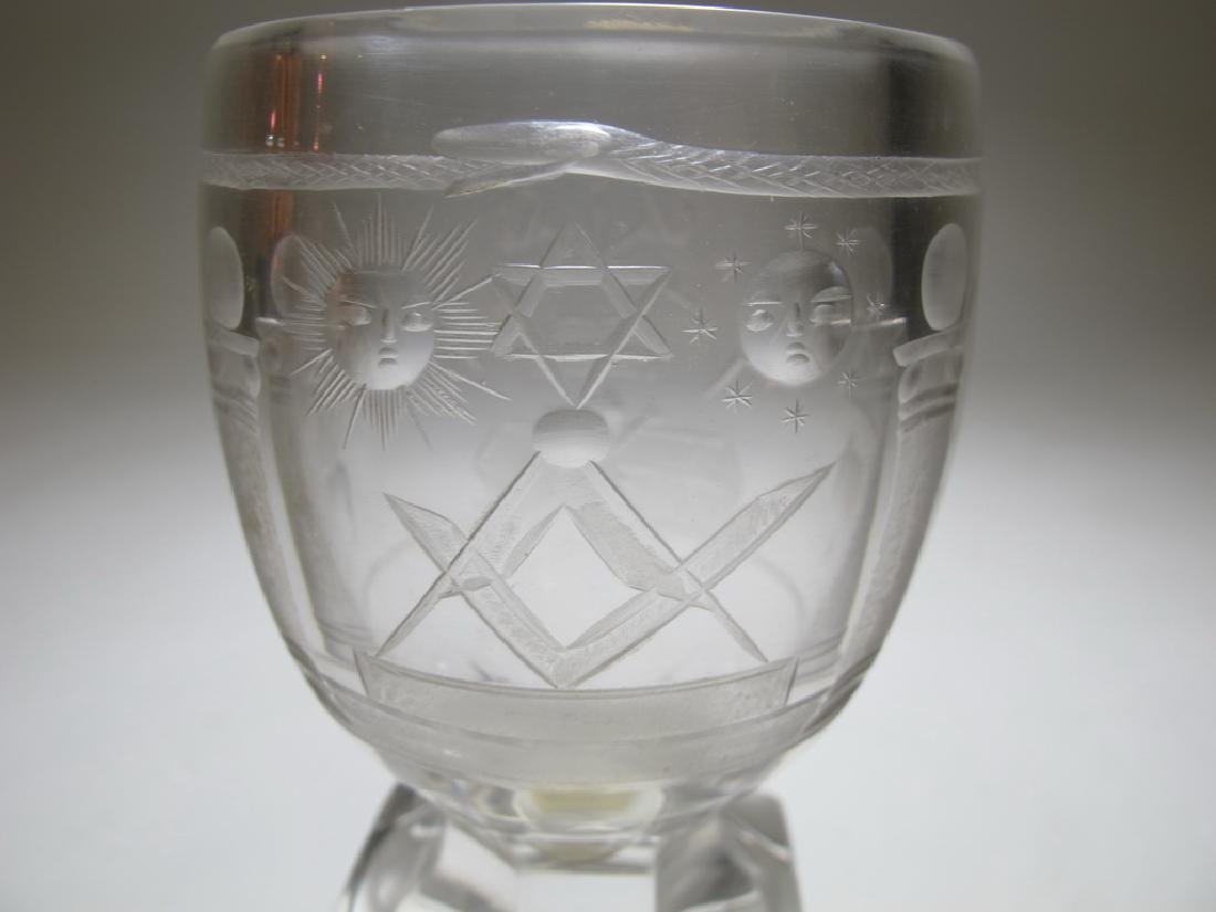 Lot of two Masonic firing glass goblets - 8