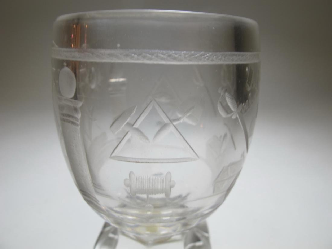 Lot of two Masonic firing glass goblets - 9