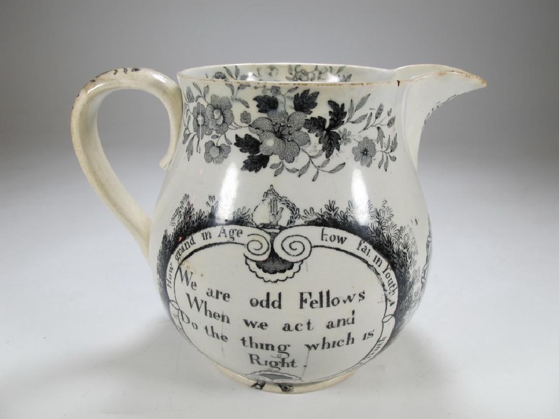 Antique English Masonic earthenware small jug