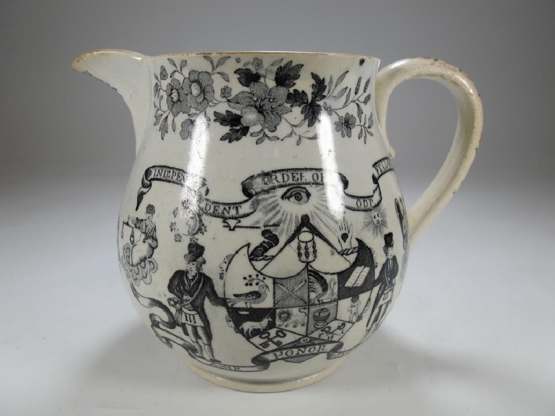Antique English Masonic earthenware small jug - 4