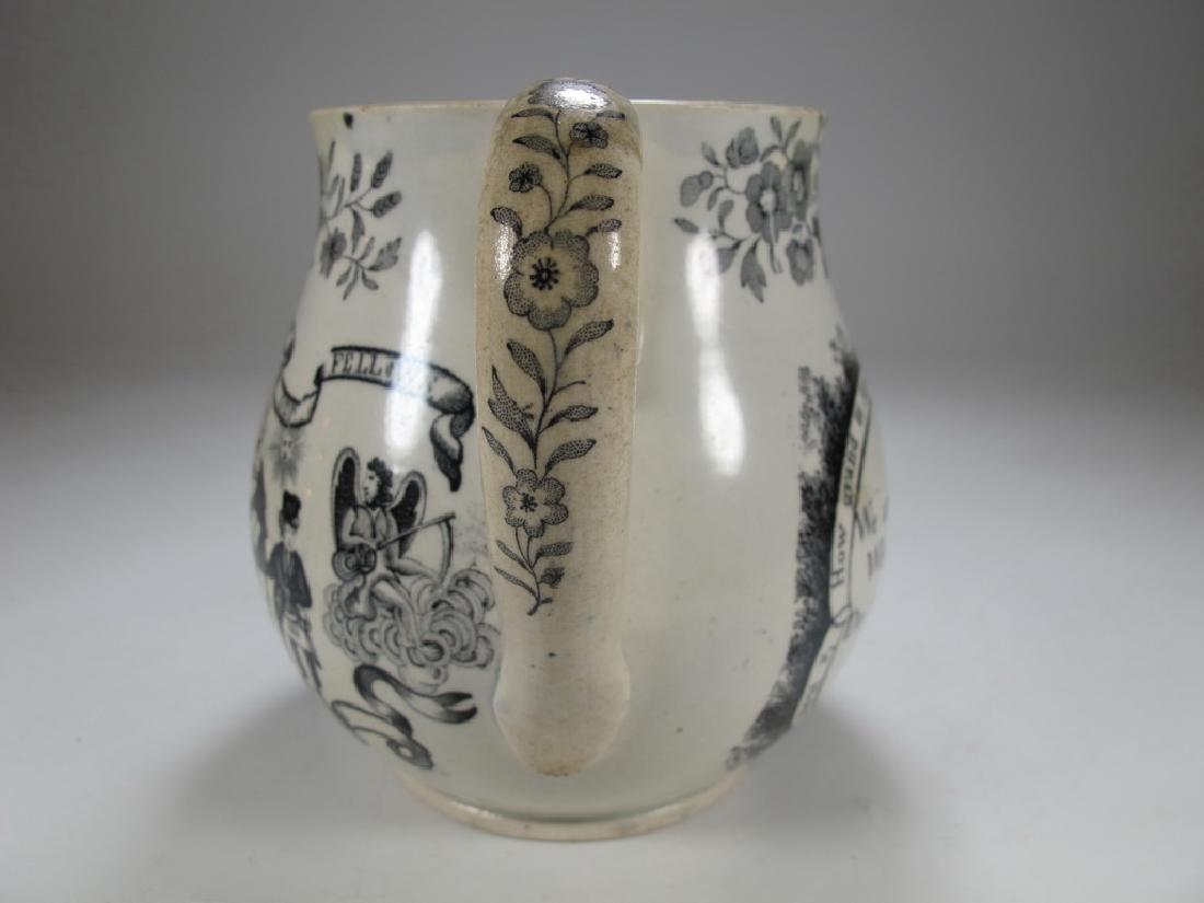 Antique English Masonic earthenware small jug - 5