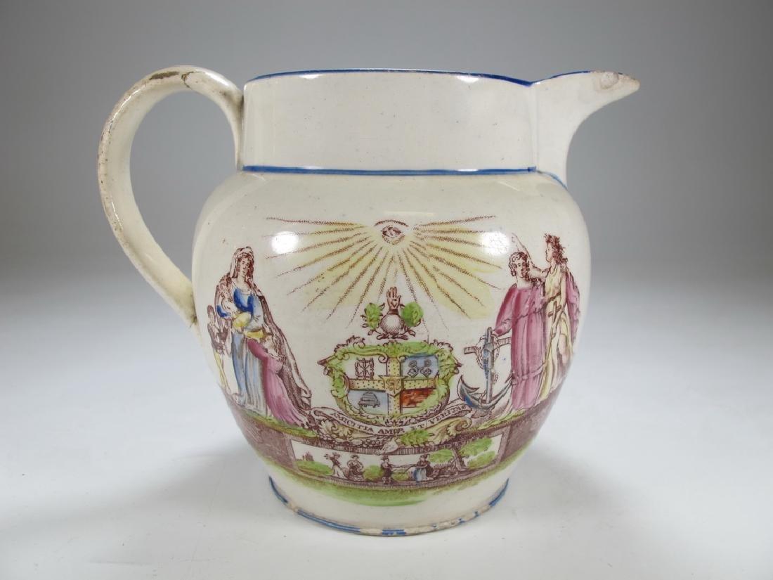 Antique English Masonic small jug - 3