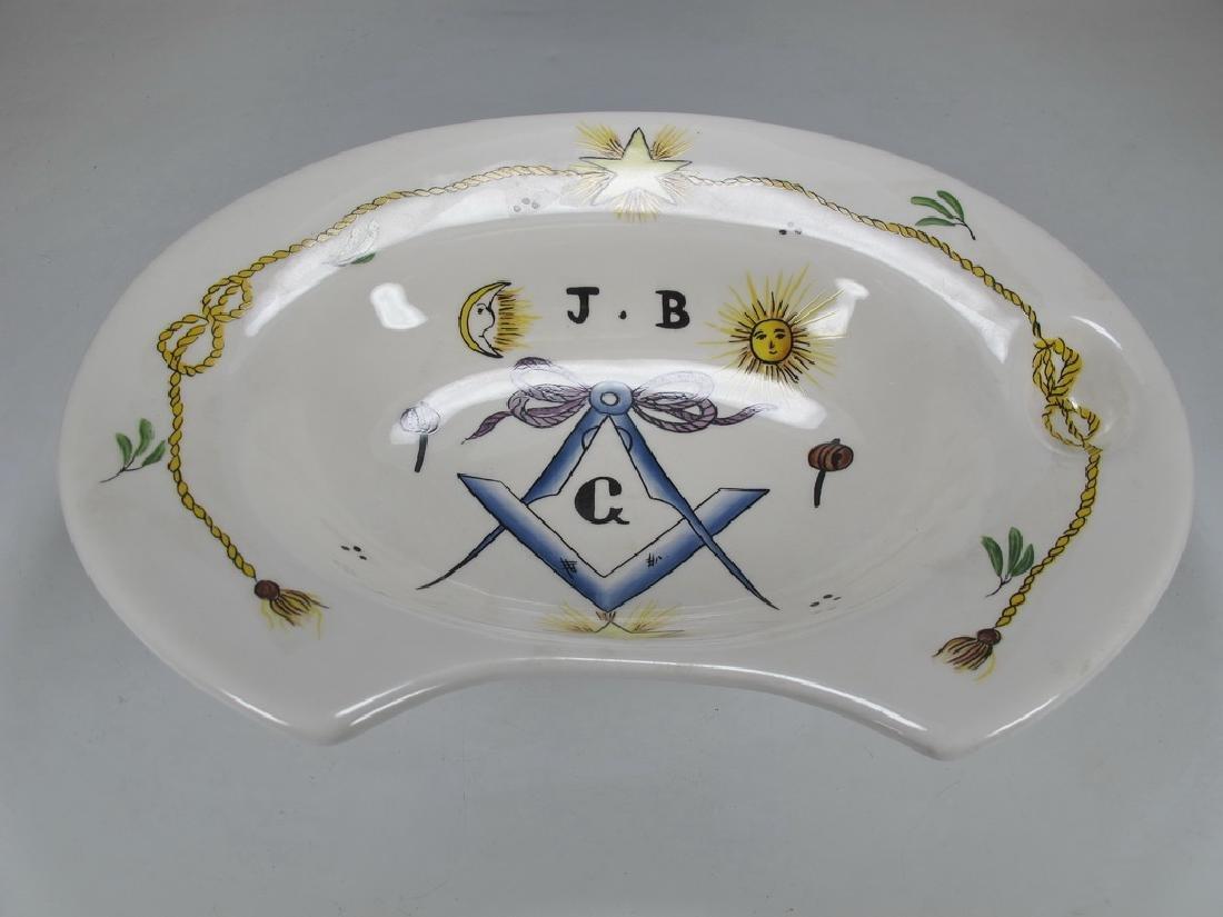 Antique Masonic Pottery Barbers bowl - 2