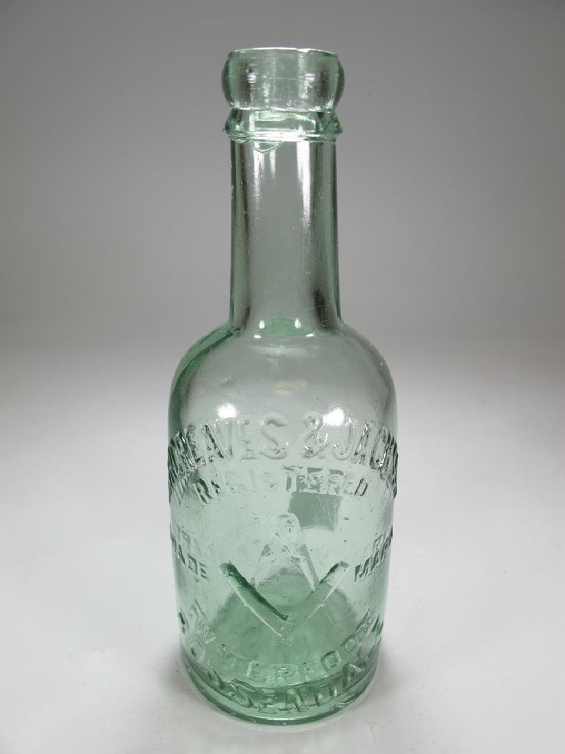 Antique English Masonic green glass bottle
