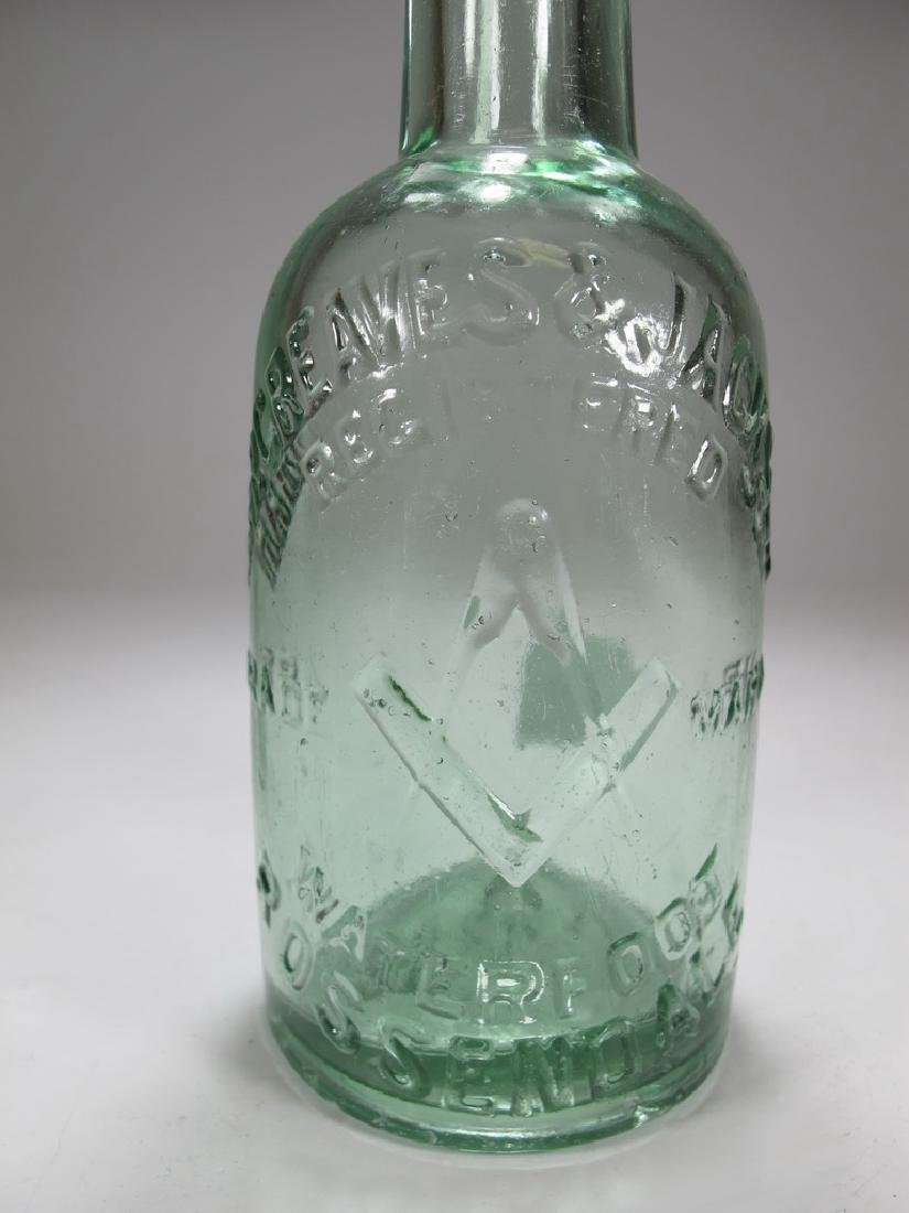 Antique English Masonic green glass bottle - 3