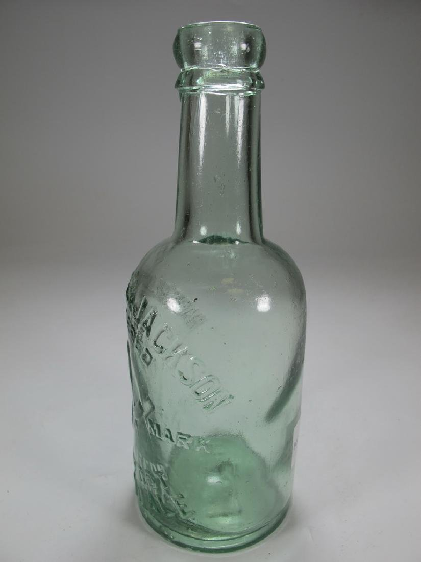 Antique English Masonic green glass bottle - 4