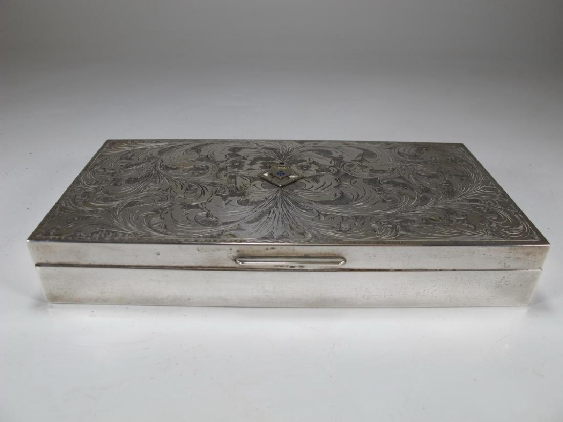 Antique masonic 800 silver cigar box