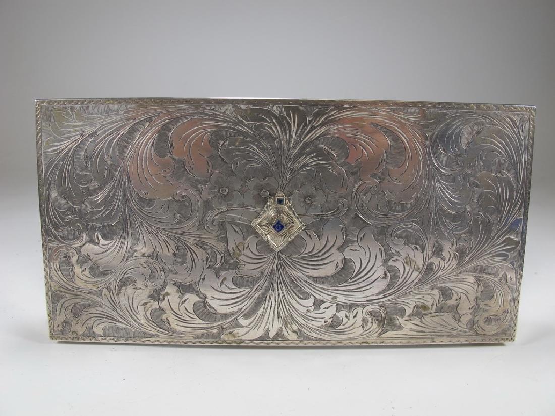 Antique masonic 800 silver cigar box - 2