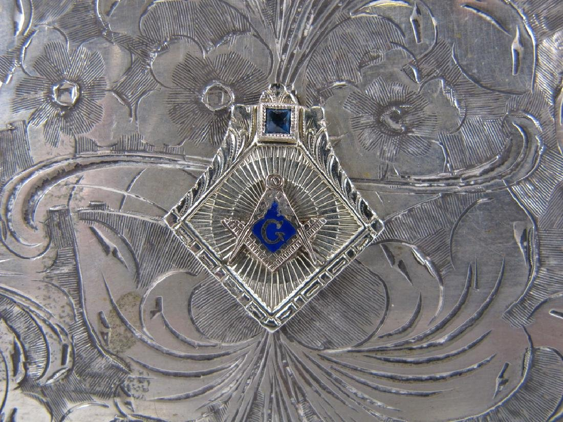 Antique masonic 800 silver cigar box - 3