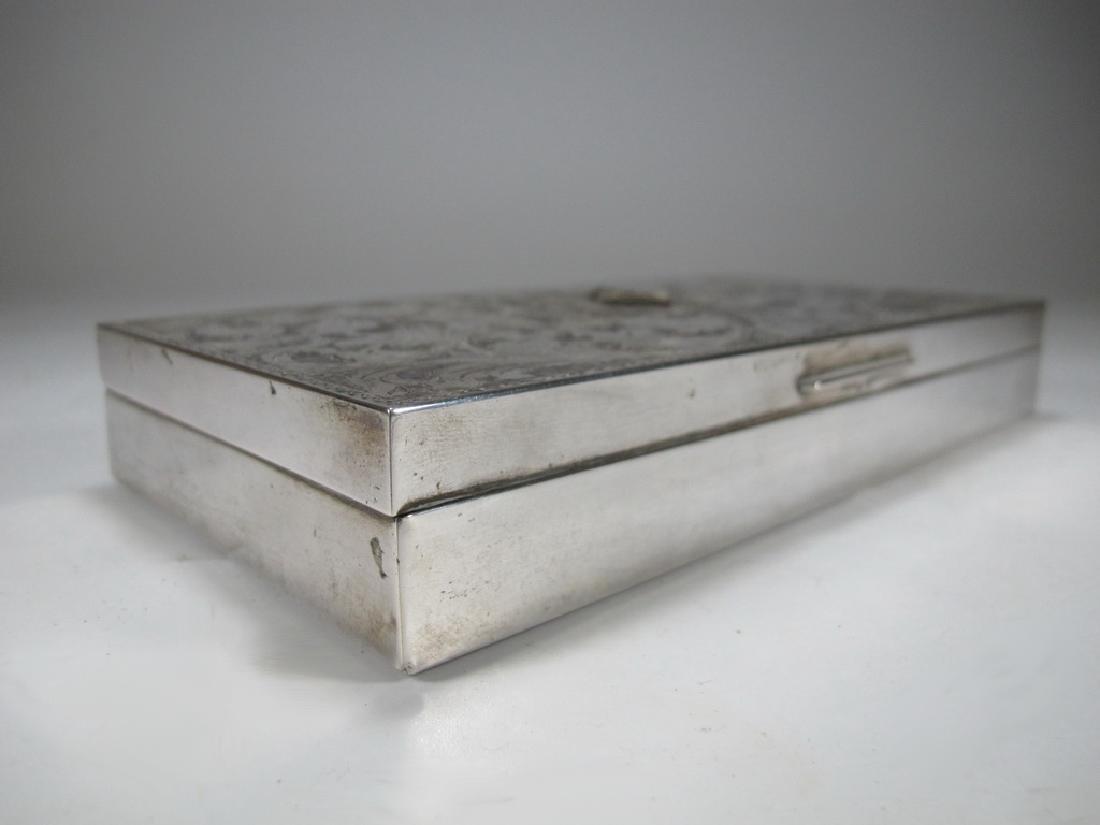Antique masonic 800 silver cigar box - 4