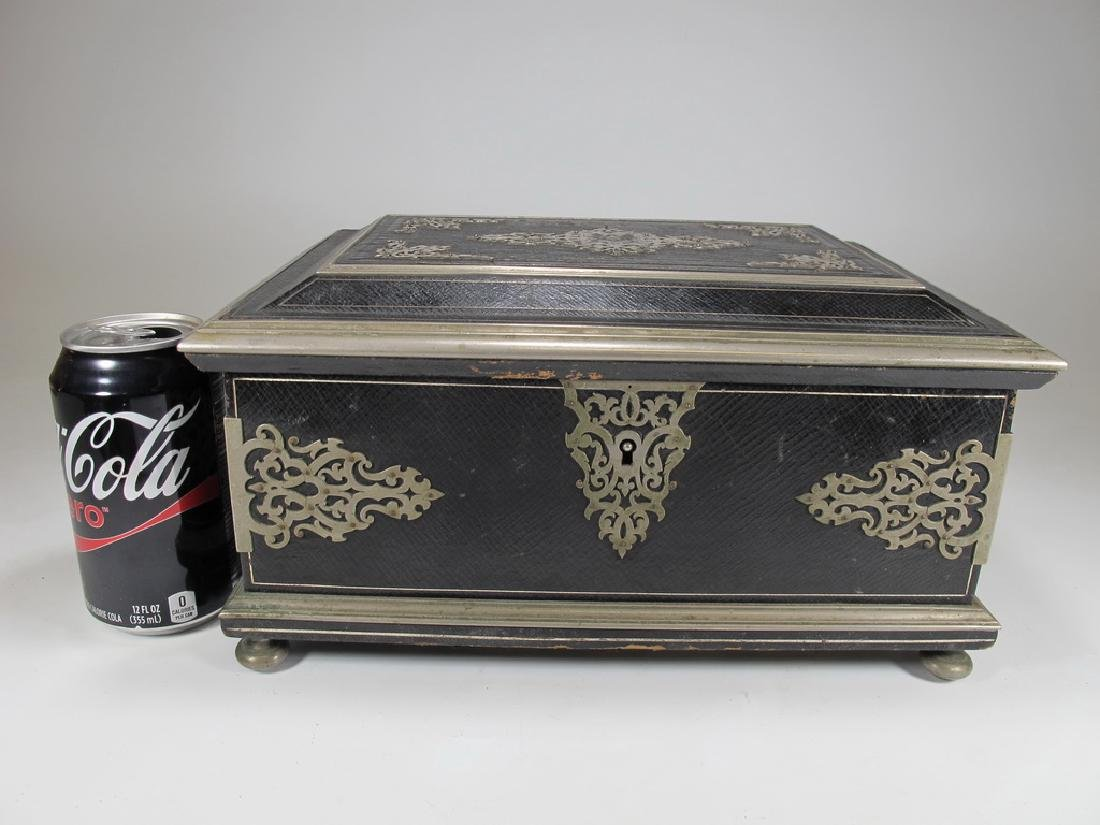Antique Masonic footed wood box with metal deco