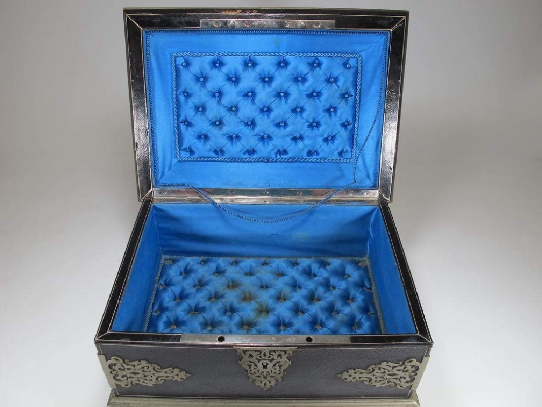 Antique Masonic footed wood box with metal deco - 4