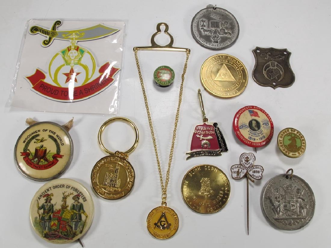 Lot of assorted Masonic badges, coins, pins & charms