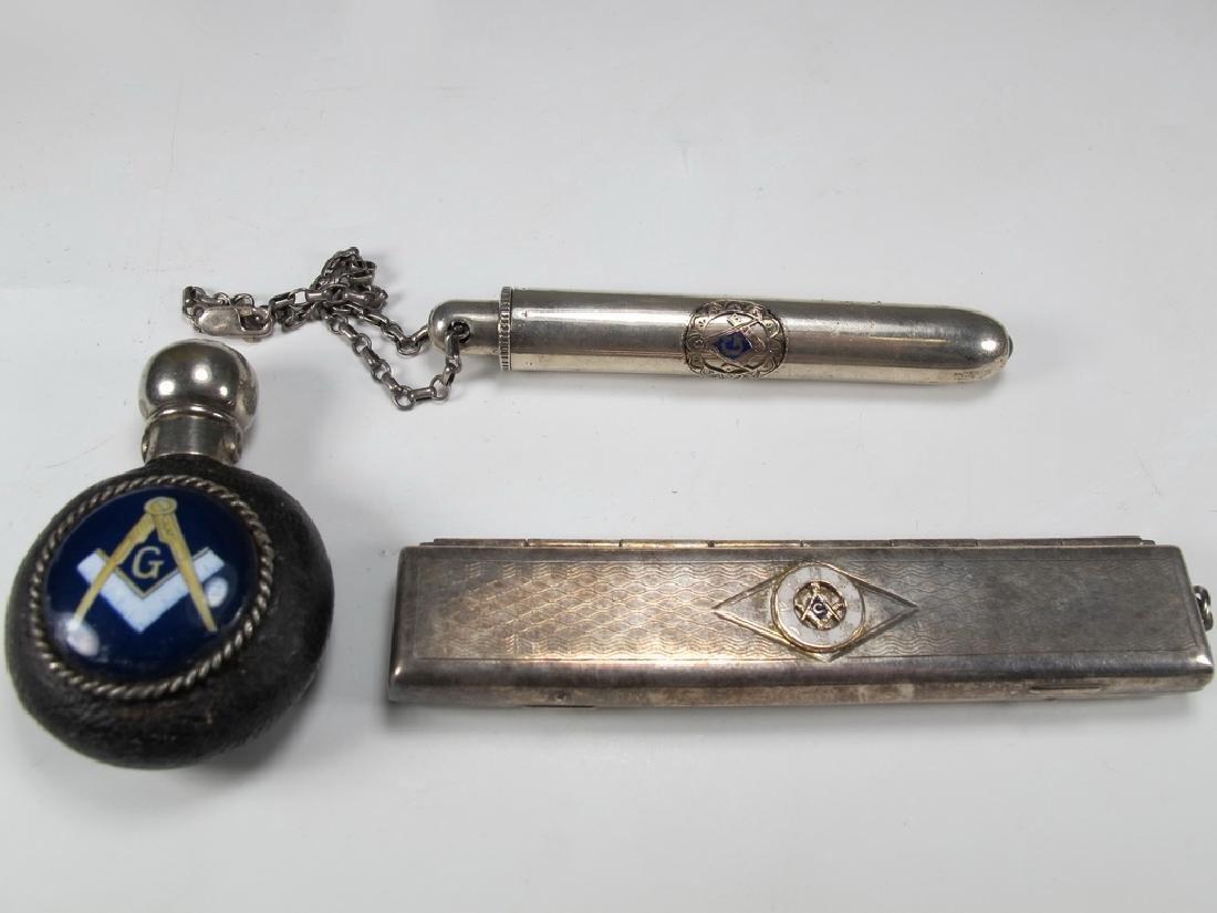 Lot of three Masonic silver items