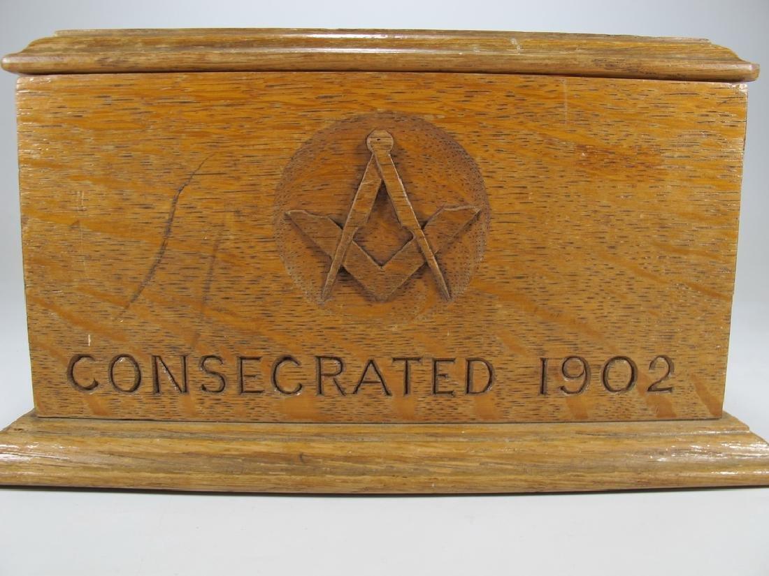 Antique Masonic wooden box - 3