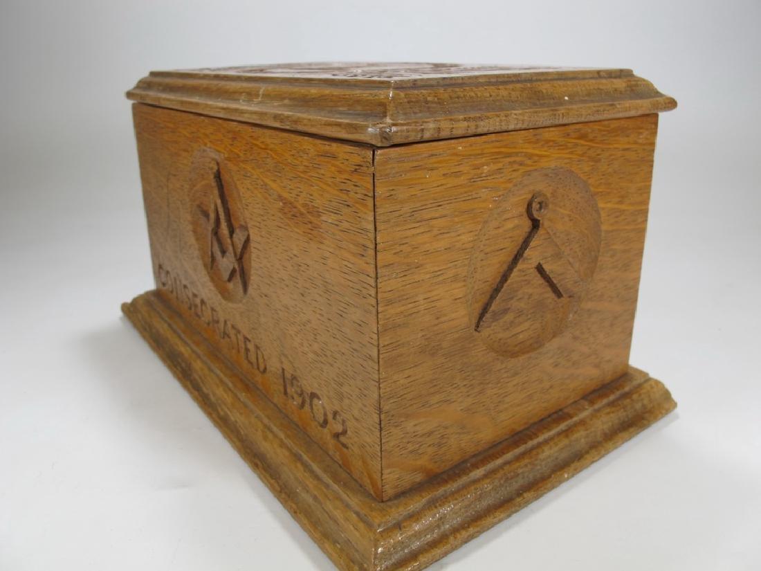 Antique Masonic wooden box - 5