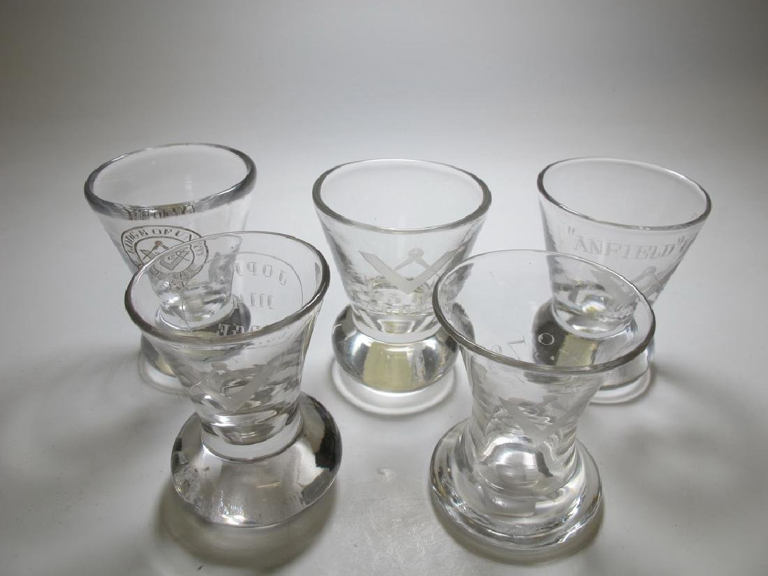 Lot of 5 Masonic etched firing glasses