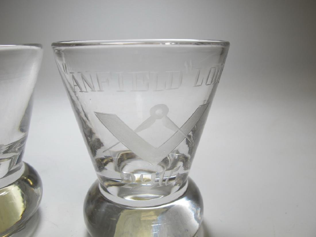 Lot of 5 Masonic etched firing glasses - 3