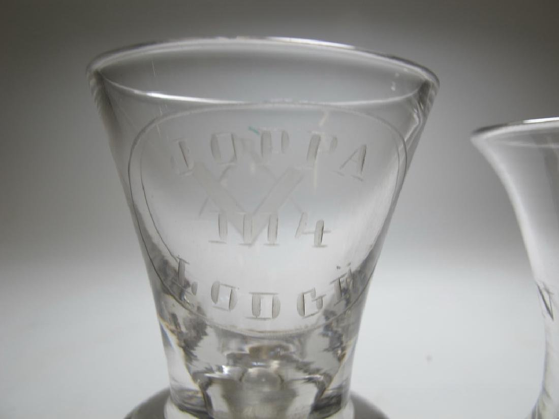 Lot of 5 Masonic etched firing glasses - 5