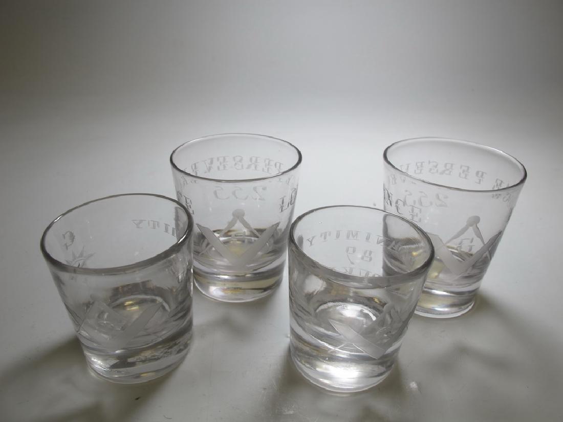 Lot of 4 Masonic glass shots