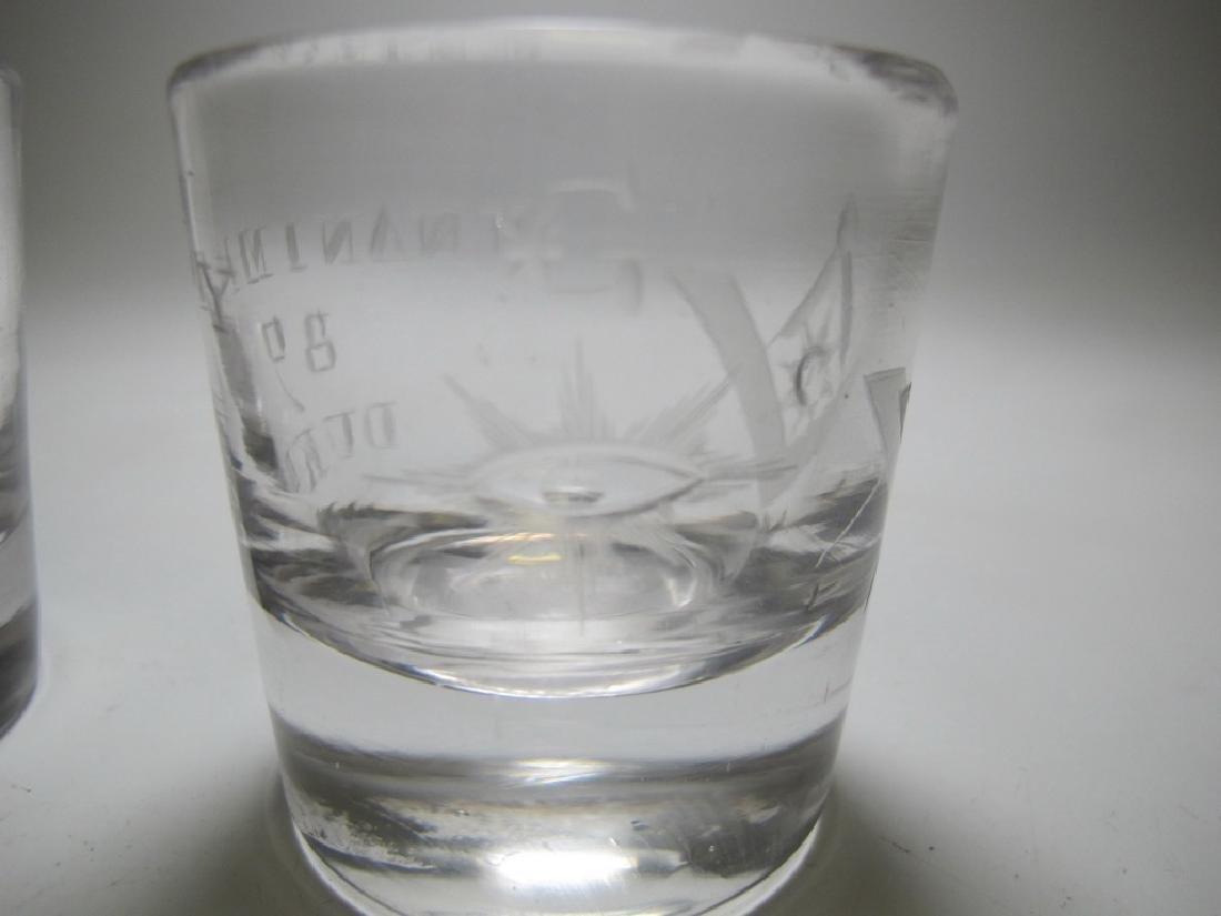 Lot of 4 Masonic glass shots - 6
