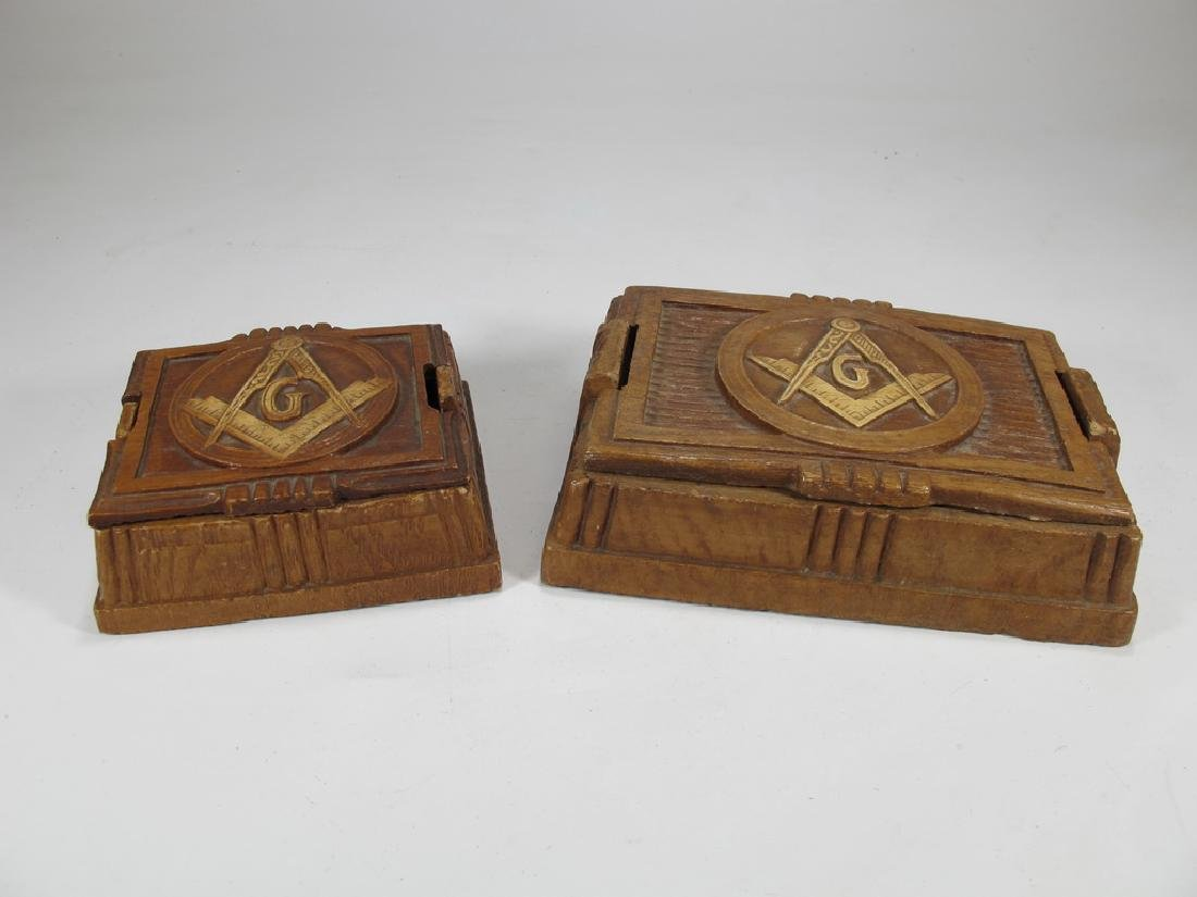 Lot of 2 Masonic composition boxes