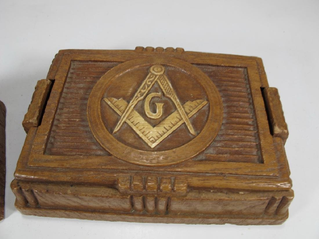 Lot of 2 Masonic composition boxes - 2