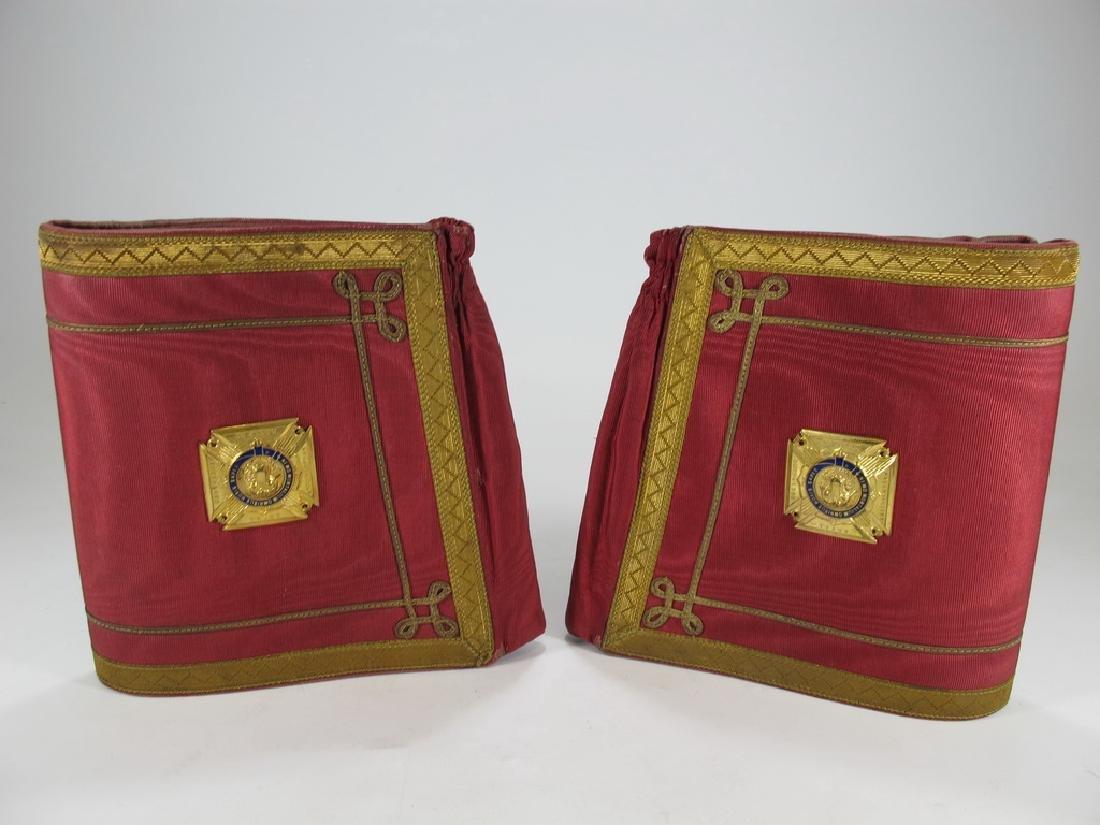 Pair of Masonic red cuff gauntlets