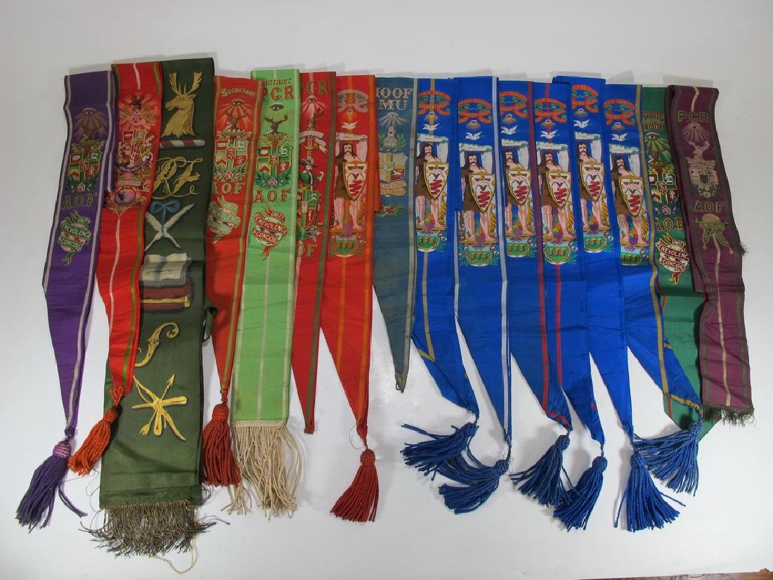 Lot of 15 assorted Masonic Friendly Orders  sashes