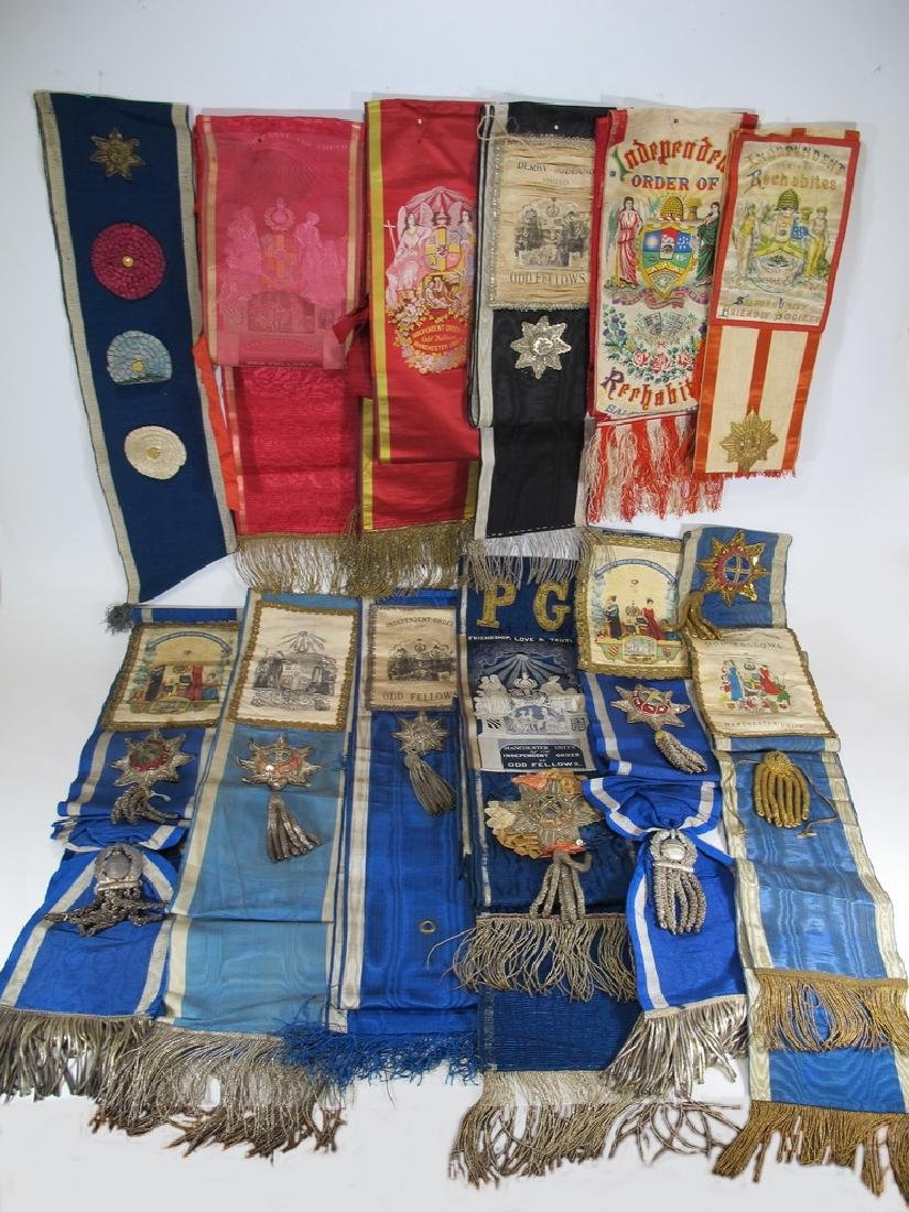 Lot of 12 assorted Masonic Orders sashes