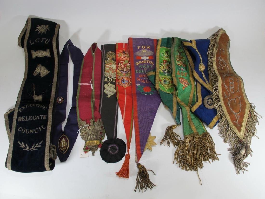 Lot of 10 assorted Masonic Orders sashes