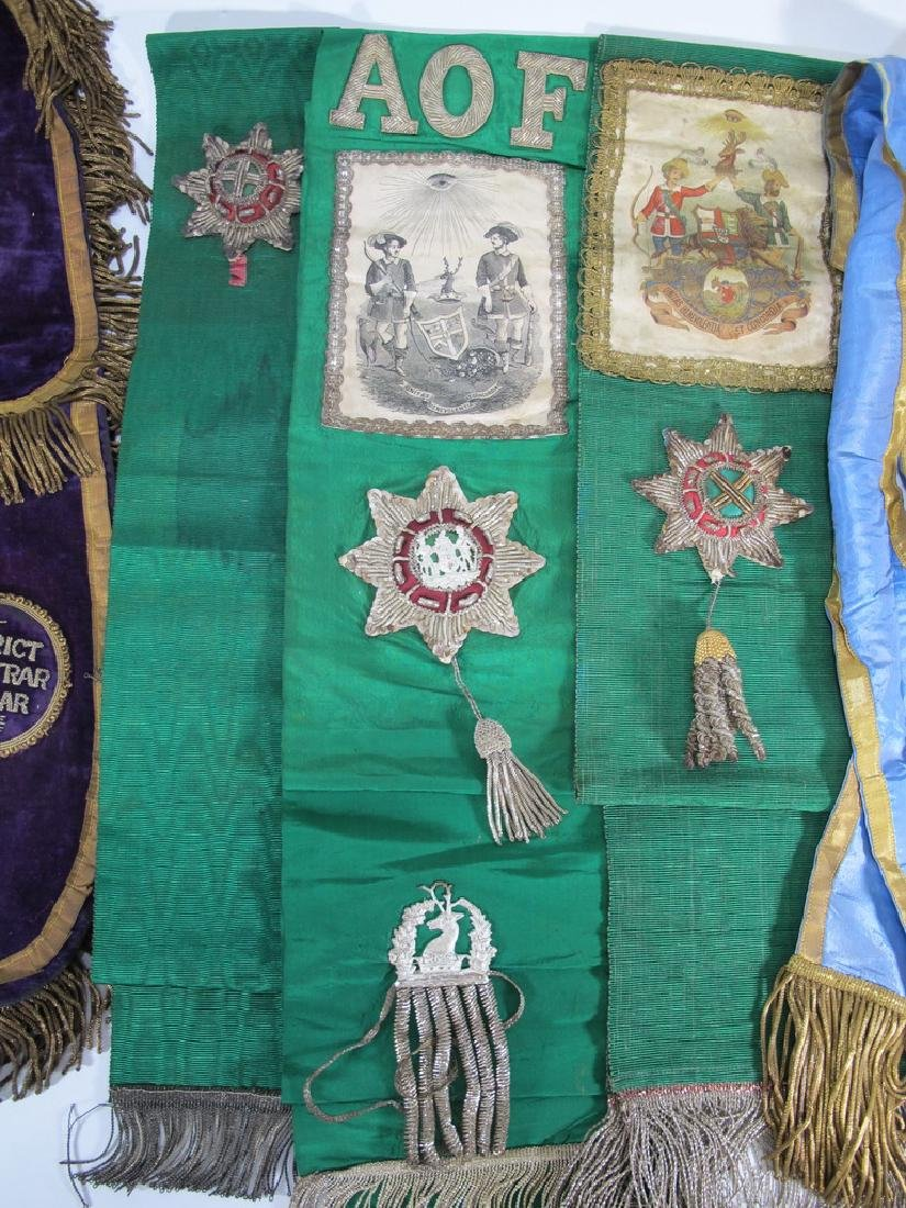 Lot of 7 assorted Masonic Orders antique sashes - 3