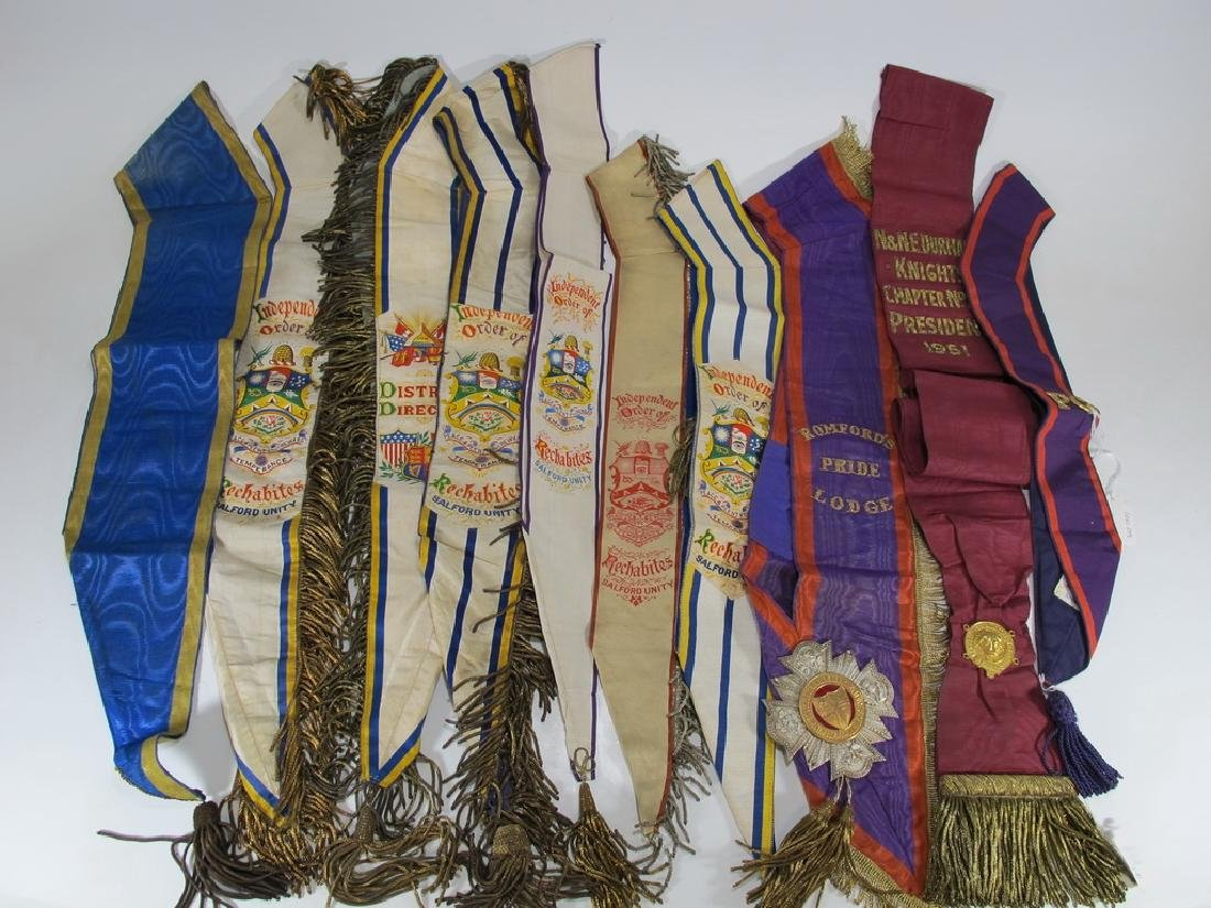 Lot of 10 assorted Masonic Orders antique sashes
