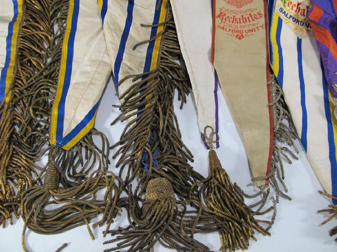 Lot of 10 assorted Masonic Orders antique sashes - 7