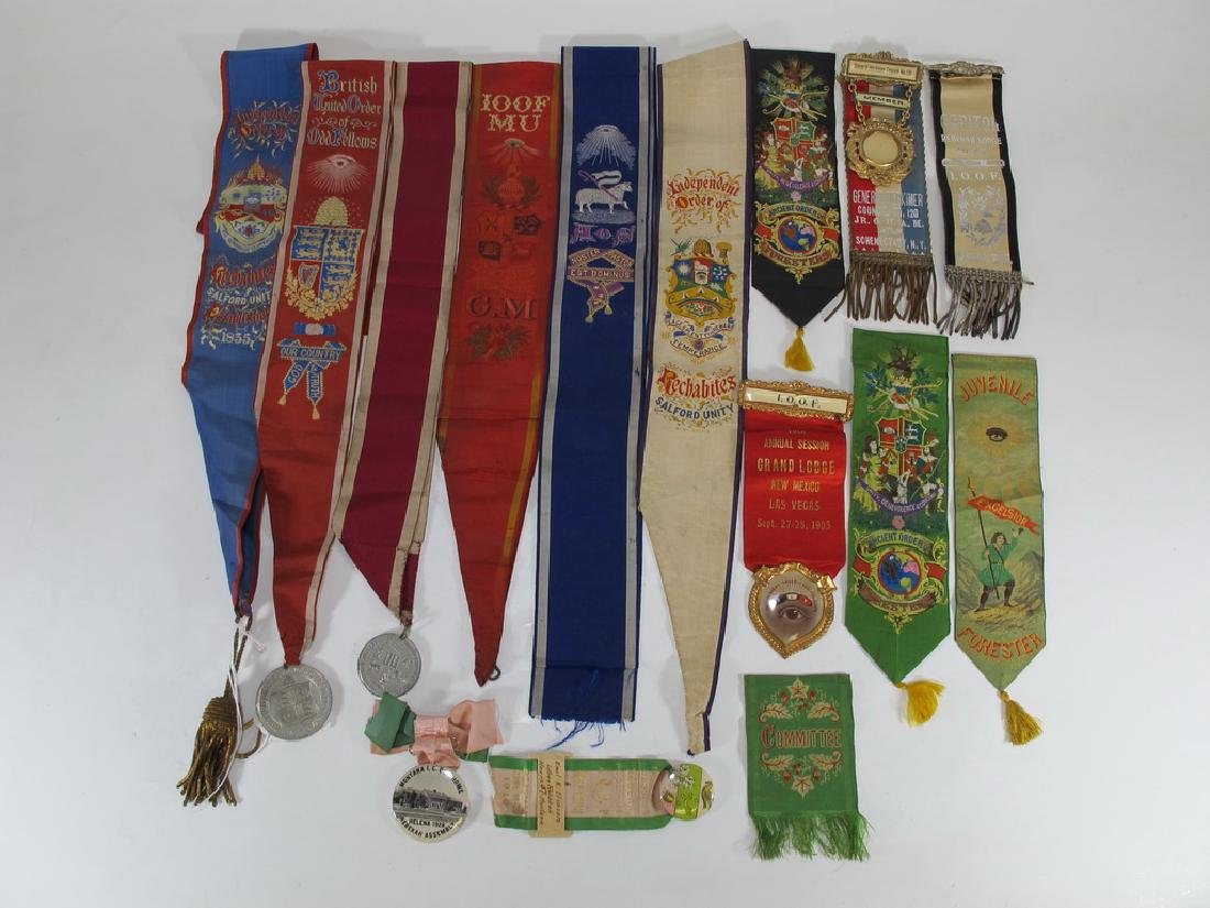Lot of 15 Masonic Orders breast ribbons and sashes