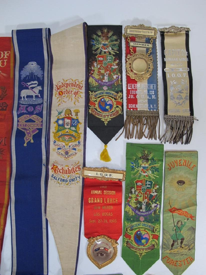 Lot of 15 Masonic Orders breast ribbons and sashes - 3