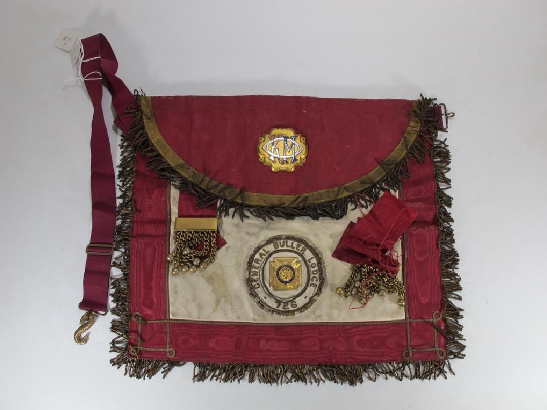Antique Masonic apron Order of Buffaloes badge