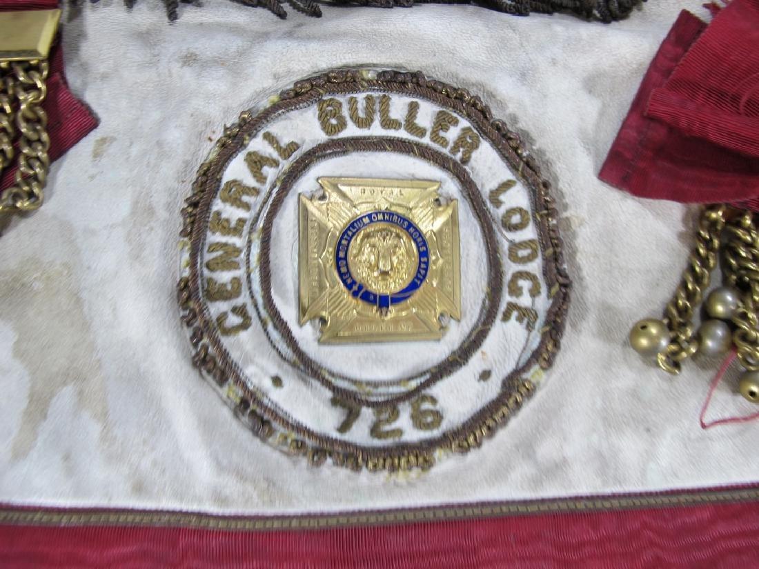 Antique Masonic apron Order of Buffaloes badge - 3